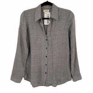 L'Agence Black White Houndstooth Plaid Shirt